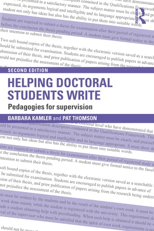 Helping Doctoral Students Write Pedagogies for supervision