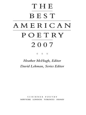 The Best American Poetry 2007 Series Editor David Lehman