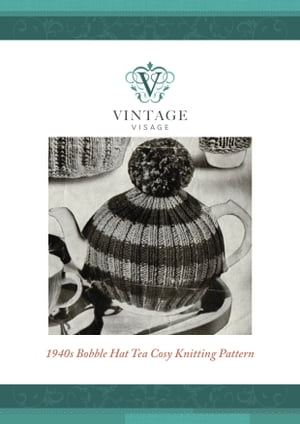 How to make a retro style 'bobble hat' tea cosy, cozy,  using up left over yarns Easy Knitting pattern from Vintage Visage