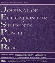 Crespar Findings (1994-1999) - In Memory of John H. Hollifield. A Special Double Issue of the journal of Education for Students Placed at Risk ebook by A. Wade Boykin,Robert E. Slavin