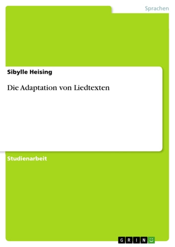 Die Adaptation von Liedtexten ebook by Sibylle Heising