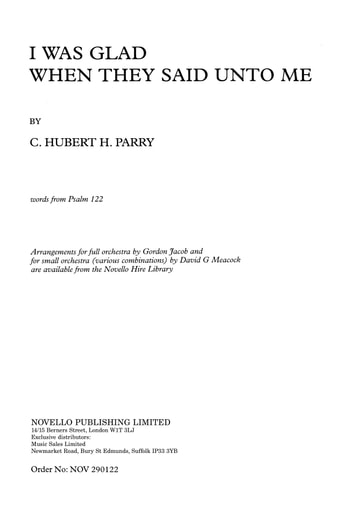 C. Hubert Parry: I Was Glad When They Said Unto Me (SSAATTBB/Org) ebook by C. Hubert Parry