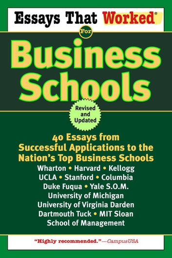 Great Application Essays For Business School Ebook