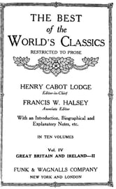 The Best Of The World's Classics (Restricted To Prose) Volume IV - Great Britain And Ireland II: 1672-1800 (Mobi Classics) ebook by Henry Cabot Lodge (Editor)