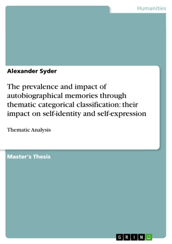 The prevalence and impact of autobiographical memories through thematic categorical classification: their impact on self-identity and self-expression - Thematic Analysis ebook by Alexander Syder
