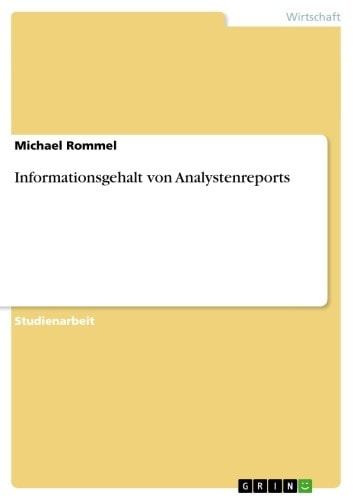 Informationsgehalt von Analystenreports ebook by Michael Rommel