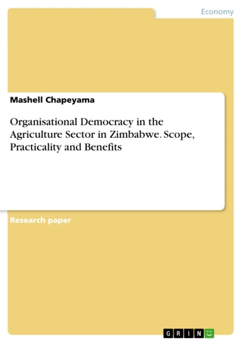 Organisational Democracy in the Agriculture Sector in Zimbabwe. Scope, Practicality and Benefits ebook by Mashell Chapeyama