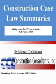 Obligation for Written Notice ebook by Michael T. Callahan