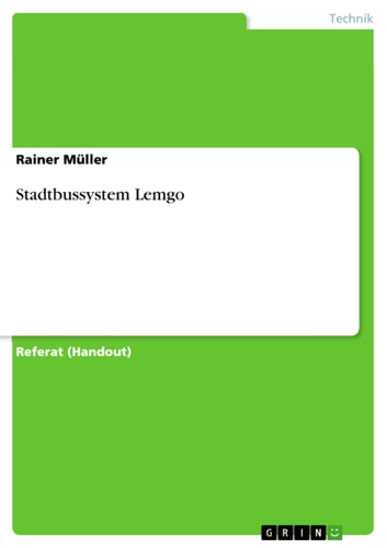 Stadtbussystem Lemgo ebook by Rainer Müller