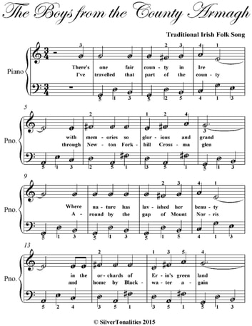 Boys from the County Armagh Easy Piano Sheet Music ebook by Traditional Irish Folk Song