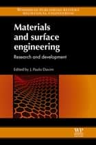 Materials and Surface Engineering ebook by J Paulo Davim
