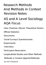 Research Methods and Methods in Context Revision Notes for AS Level and A Level Sociology, AQA Focus ebook by Karl Thompson
