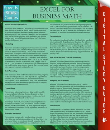 Excel For Business Math ebook by Speedy Publishing