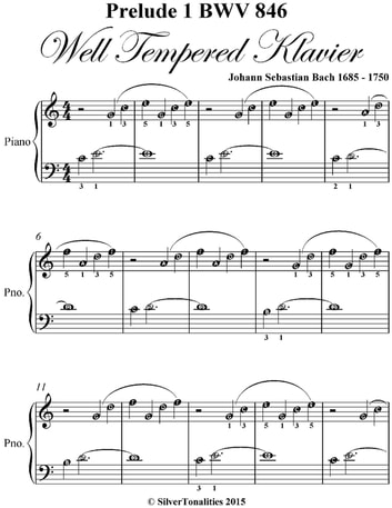 Prelude 1 Bwv 846 West Tempered Klavier - Easiest Piano Sheet Music ebook by Silver Tonalities