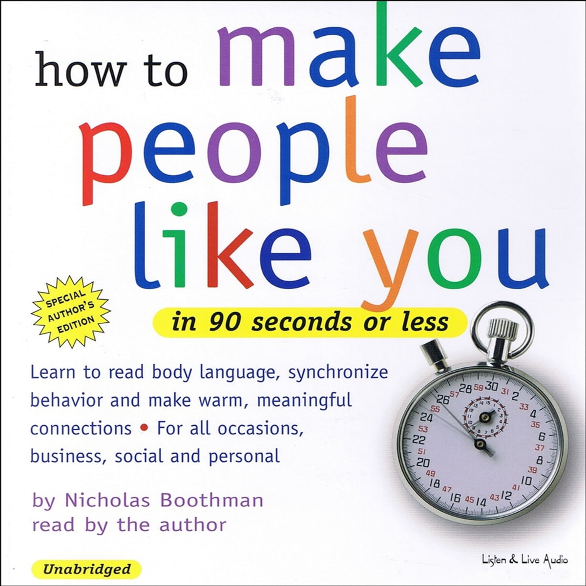 How To Make People Like You In 90 Seconds or Less Audiobook by Nicholas  Boothman - 9781593163204 | Rakuten Kobo United States