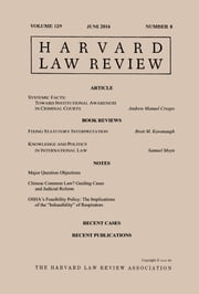 Harvard Law Review: Volume 129, Number 8 - June 2016 ebook by Harvard Law Review