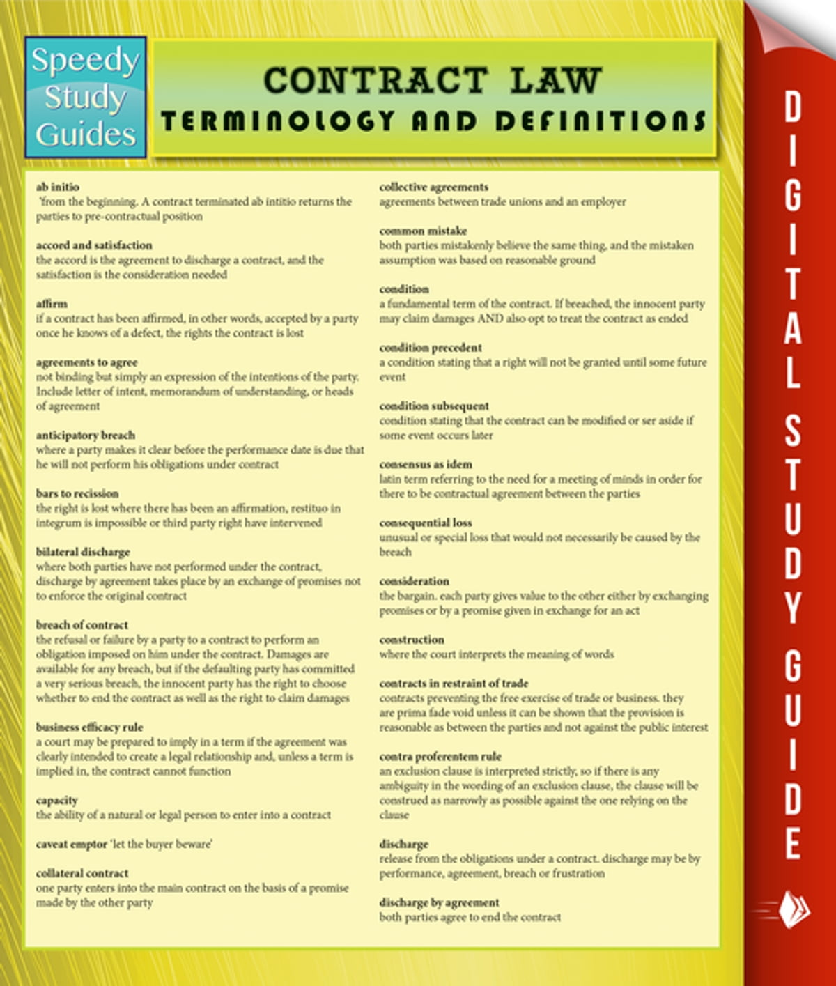 Contract Law Terminology and Definitions (Speedy Study Guide) eBook by  Speedy Publishing - 9781635013559 | Rakuten Kobo