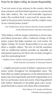 No Higher Calling, No Greater Responsibility: A Prosecutor Makes His Case ebook by Suthers, John W.