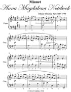 Minuet Anna Magdalena Notebook - Easy Piano Sheet Music ebook by Silver Tonalities