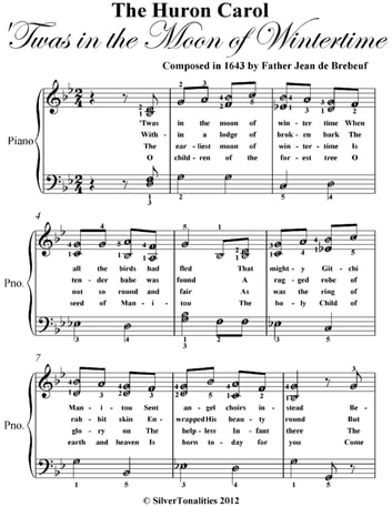 Huron Carol Easy Elementary Piano Sheet Music ebook by Father Jean de Brebeuf