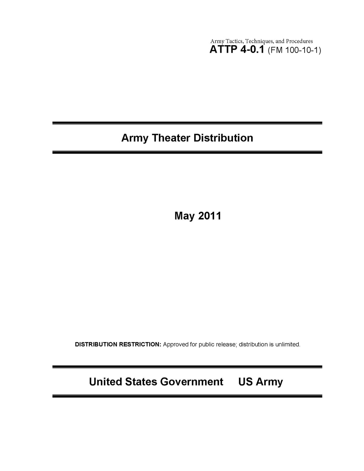 Army Tactics, Techniques, and Procedures ATTP 4-0.1 (FM 100-10-1) Army  Theater Distribution eBook by United States Government US Army -  1230000129543 ...