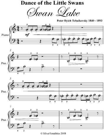 Dance of the little swans swan lake beginner piano sheet for Piano dance music 90 s