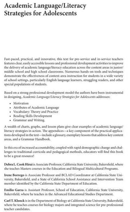 "Book Academic Language/Literacy Strategies for Adolescents: A How-To"" Manual for Educators"" by Garza, Debbie"