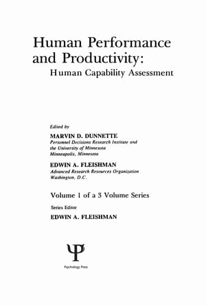 Human Performance and Productivity Volumes 1,  2,  and 3