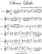 Swan Lake Easy Violin Sheet Music by Peter Ilyich Tchaikovsky