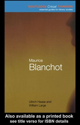 Book Maurice Blanchot by Haase, Ullrich