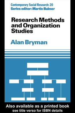 Book Research Methods and Organization Studies by Alan Bryman