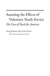 Assessing the Effects of Voluntary Youth Service: The Case of Teach for America