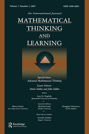 Advanced Mathematical Thinking A Special Issue of Mathematical Thinking and Learning