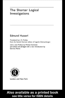 Book The Shorter Logical Investigations by Husserl, Edmund