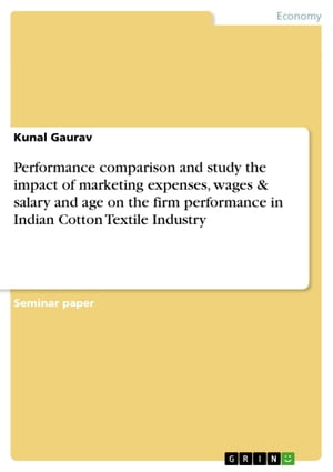 Performance comparison and study the impact of marketing expenses, wages & salary and age on the firm performance in Indian Cotton Textile Industry by Kunal Gaurav