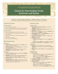 Charts for Intermediate Greek Grammar and Syntax: A Quick Reference Guide to Going Deeper with New…