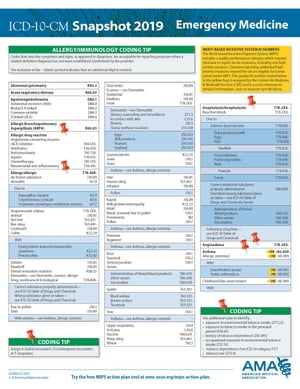 ICD-10-CM 2019 Snapshot Coding Card:Emergency Medicine by American Medical Association
