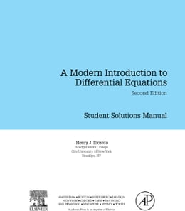 Book Student Solutions Manual, A Modern Introduction to Differential Equations by Ricardo, Henry J.