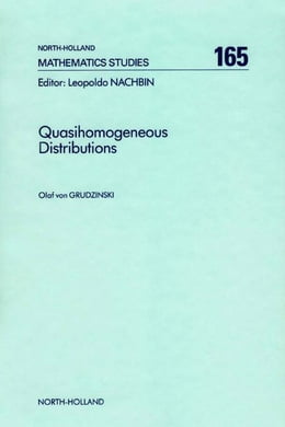 Book Quasihomogeneous Distributions by von Grudzinski, O.