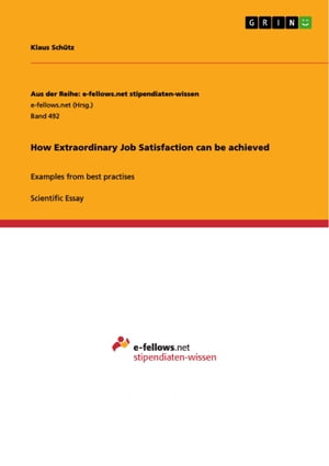 How Extraordinary Job Satisfaction can be achieved: Examples from best practises
