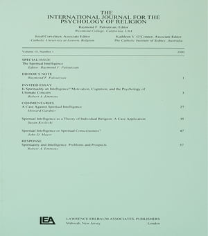Spiritual Intelligence A Special Issue of the International Journal for the Psychology of Religion