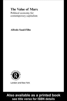 Book The Value of Marx by Saad-Filho, Alfredo