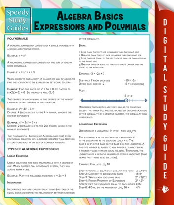 Algebra Basics, Expressions and Polymials (Speedy Study Guide) ebook by Speedy Publishing