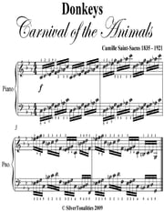 Donkeys Carnival of the Animals - Elementary Piano Sheet Music ebook by Camille Saint Saens