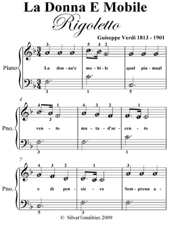 La Donna E Mobile Easiest Piano Sheet Music ebook by Guiseppe Verdi