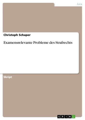Examensrelevante Probleme des Strafrechts ebook by Christoph Schaper