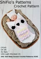 245- Owl Baby Cocoon Crochet Patterns #245 ebook by ShiFio's Patterns
