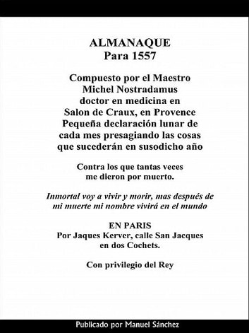 Almanaque para 1557 de Nostradamus ebook by Manuel Sanchez