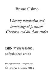 Literary translation and terminological precision: chekhov and his short stories ebook by Bruno Osimo