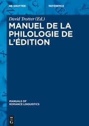 Manuel de la philologie de l'édition ebook by